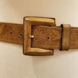 Access Tan Leather Belt with Marsh Duck Scene